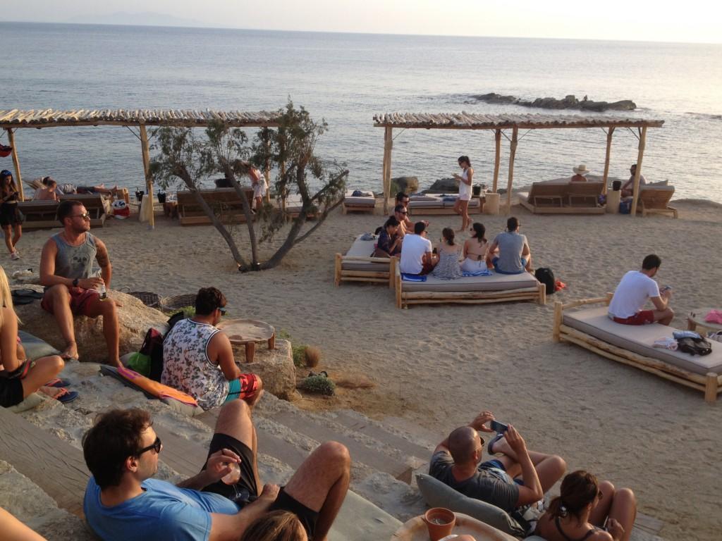 Abendstimmung im Scorpios Beach Club Mykonos