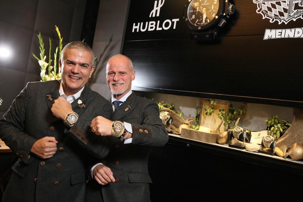 Wenn das mal keine erfolgreiche Kooperation ist: Hublot-Chef Ricardo Guadelupe mit Markus Meindl